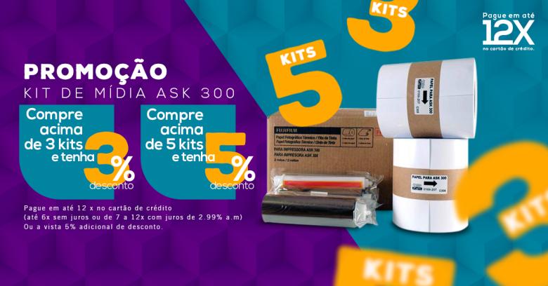 Na compra dos kits da ASK300 você ganha desconto de acordo com a quantidade adquirida e ainda paga em até 12x no cartão ou no boleto com 5% de desconto adicional