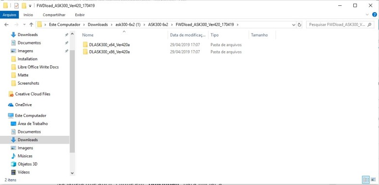 Pastta de arquivos de firmware