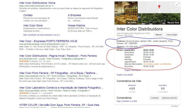 Informações de contato no Google Meu Negócio