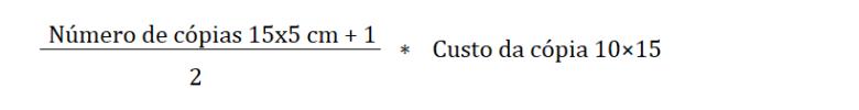 fórmula de cálculo de custo da foto tirinha